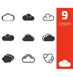 black cloud icons set vector image
