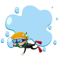 Border template with boy scuba diving vector
