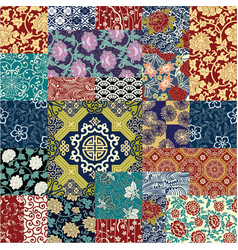 chinese style fabric patchwork wallpaper vector image vector image