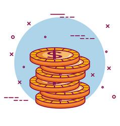 Crowdfunding stack dollar coins money vector