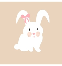 Cute rabbit with pink bow set for vector