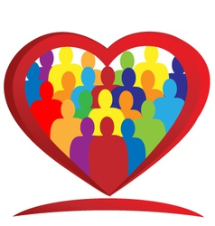 Diversity people heart vector image vector image