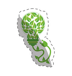 environment leaves shape bulb design vector image