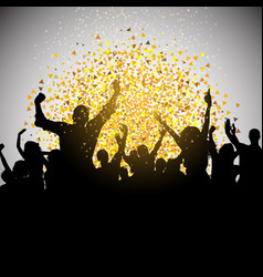 excited party crowd on confetti background vector image vector image