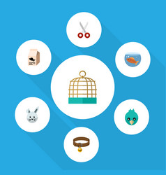 Flat icon pets set of bird prison sparrow vector
