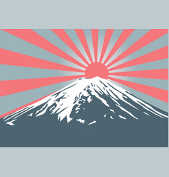 Fuji mountain with sun shine on peak vector