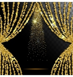 Gold glitter curtain with the light transparent vector