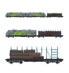green locomotive with railway platform vector image vector image