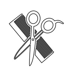 Hairdresser scissors with comb isolated icon vector