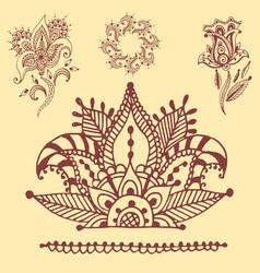 Henna tattoo brown mehndi flower doodle ornamental vector