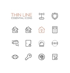 House Security - Thin Single Line Icons Set vector image