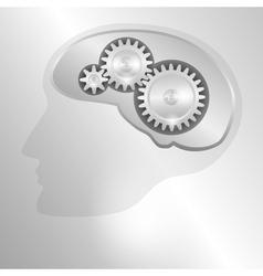 Human head with a mechanical brain vector