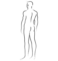 Male figure from behind vector