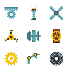 mechanical gear icon set flat style vector image