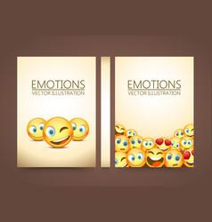 modern yellow laughing three emoji emotions vector image vector image