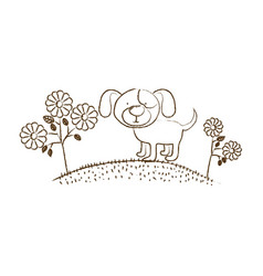 Monochrome hand drawn silhouette of dog in hill vector