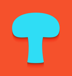Mushroom simple sign whitish icon on vector