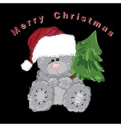 Santa teddy bear isolated with fir on black vector
