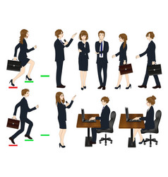 set cartoon business people no3 vector image