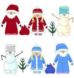 Set of christmas santa claus snow maiden snowman vector