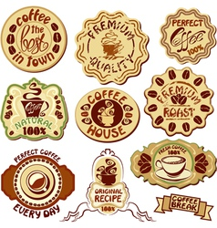 Set of coffee labels - hand drawn icons of cup vector image vector image