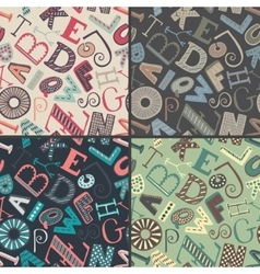 Set of four color variations seamless patterns vector image