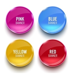 Set of glass pink blue red and yellow banners vector image vector image