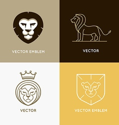 set of lion logo design templates and ebmlems vector image
