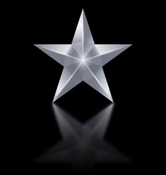Silver star on black background vector