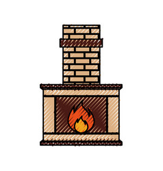 stone bricks home family fireplace christmas vector image