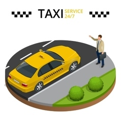Taxi service 24h concept Young man raising her vector image vector image