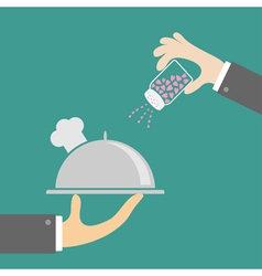 Two hands with silver platter cloche chef hat salt vector