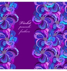 Violet lilac and blue peacock feathers Vertical vector image