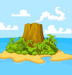 Volcano island vector image