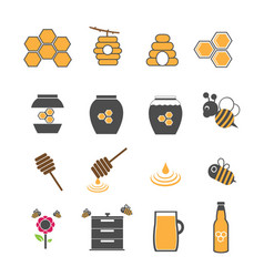 yellow honey and bee icons set vector image