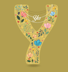 yellow letter y with floral decor and necklace vector image vector image