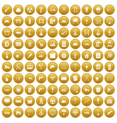 100 construction site icons set gold vector