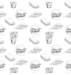 Hand drawn fast food pattern burger pizza vector