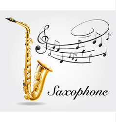 Saxophone and music notes on poster vector