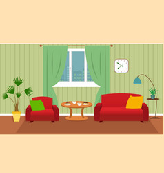 Living room interior including furniture vector