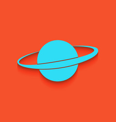 Planet in space sign whitish icon on vector