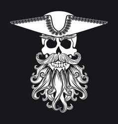skull with beard vector image
