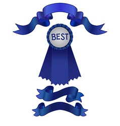 Set of blue ribbons and award vector