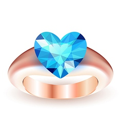 Ring with topaz heart shaped vector