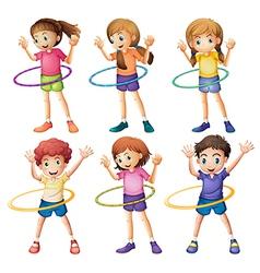 Kids playing hulahoop vector image