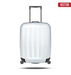 Classic white plastic luggage suitcase for air or vector