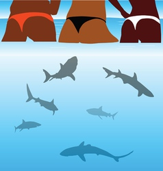 Shark and beauty bikini girl vector