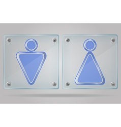 Transparent sign man and women toilets on the vector