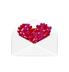 Paper grunge hearts in open white envelope - vector