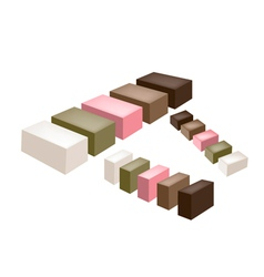 Set of uiro or traditional japanese steamed cake vector